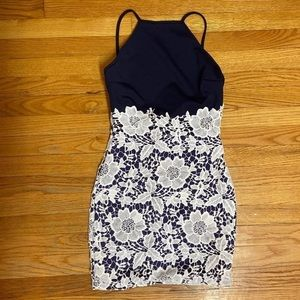 Boohoo Navy blue body con dress with white lace